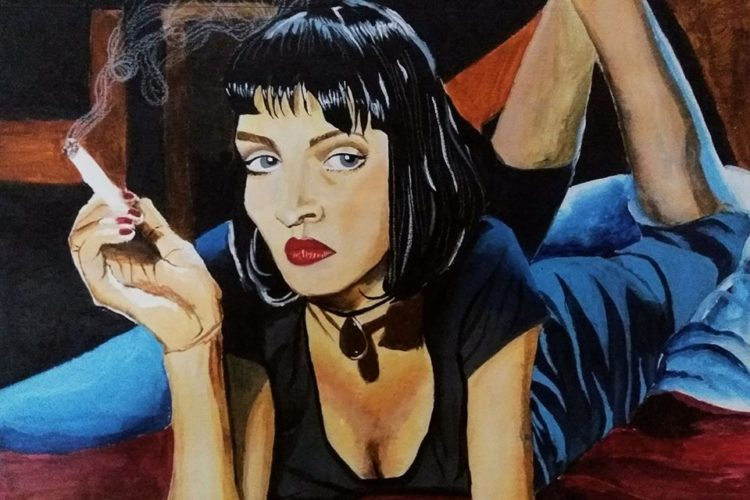ACRYLICS ON PAPER| Uma Thurman from Pulp Fiction| A cult classic.| 8-chiaroscuro