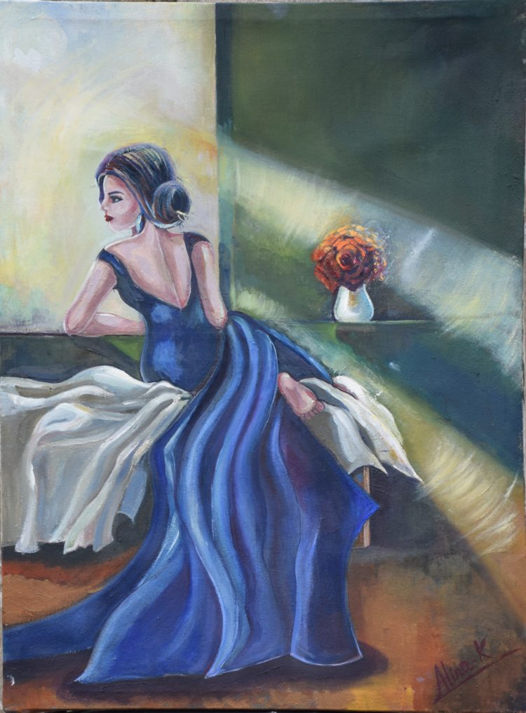 The lady in blue dress oil on canvas 23×17inches figurative(imaginary) AK 004 DSC_0788