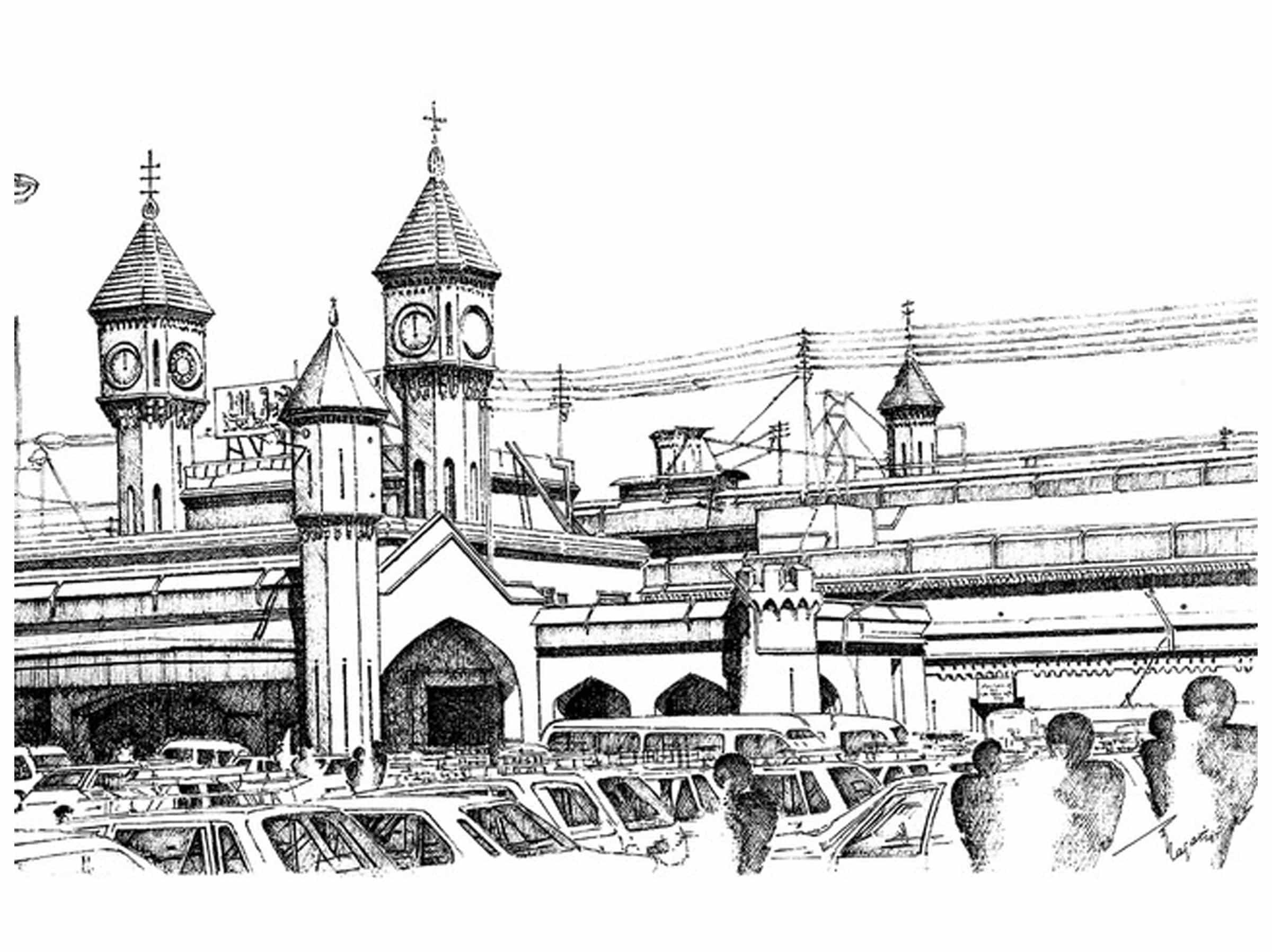Railway Station, Lahore, PAKISTAN - Drawings by Zehra Naqavi