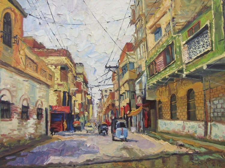 Hirabad Hyderabad Oil on canvas 24″/18″ Knife Painting with kitchen knife Hirabad.jpg