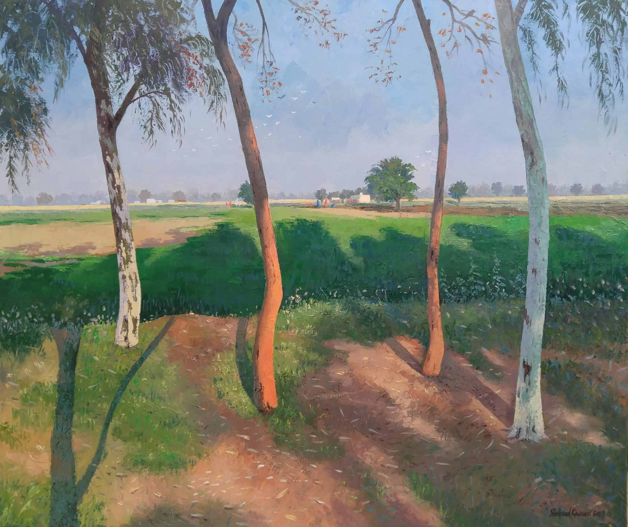 Size 45×40 inches Oil on canvas Title: serenity This painting shows the beauty of the landscape