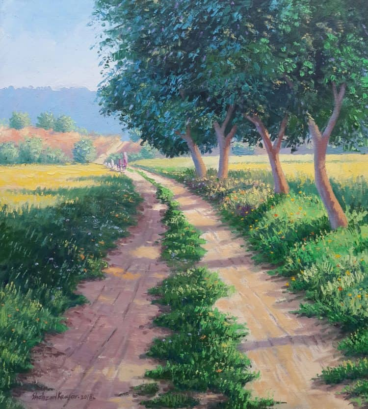 20×22 inches approximately, Oil on canvas Title : walking to the mountains 30000 pkr Available