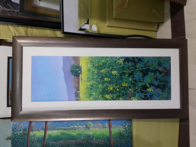 45×21 Oil on canvas Title: Mustard This painting represents the beauty of mustard, the guest of