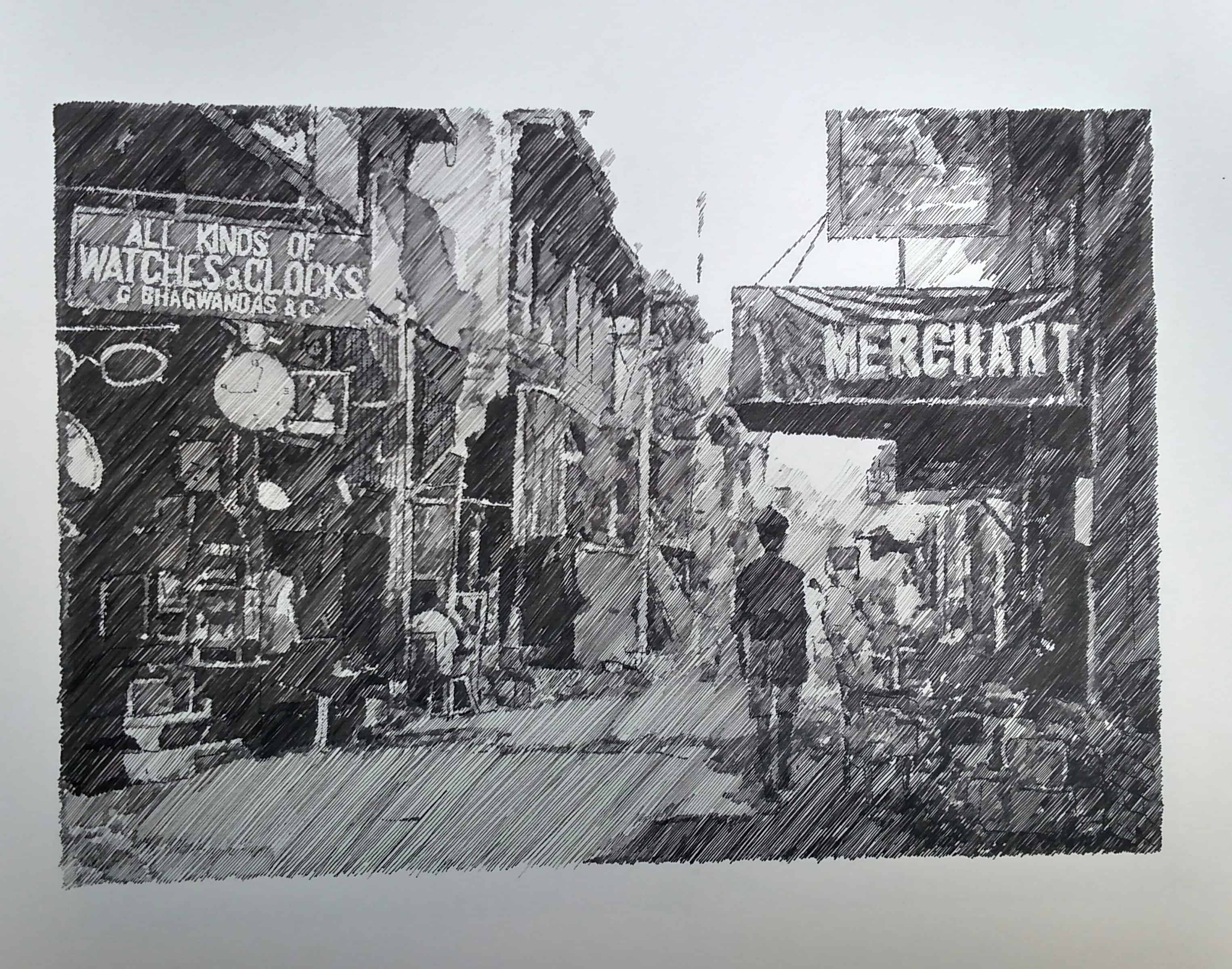 Old Karachi - Drawings by Zameer Hussain