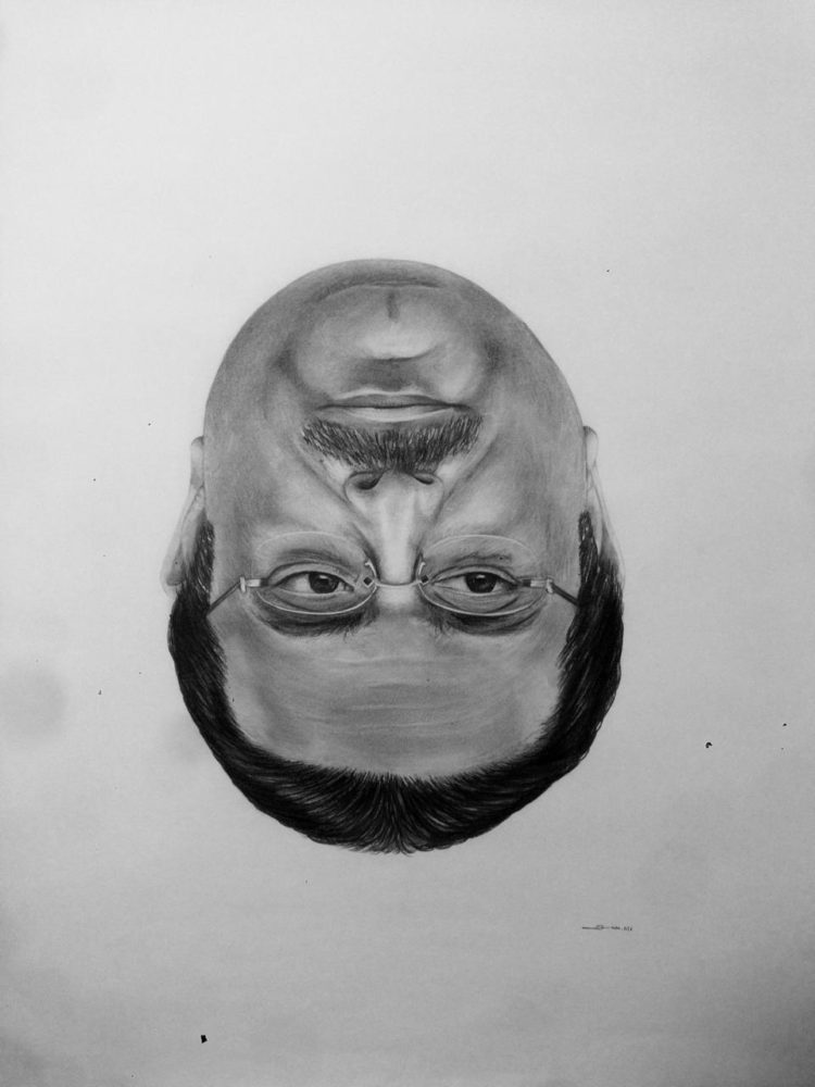 Title: Untitled (Thatcher illusion) Med: Graphite and Charcoal on paper Size: 24 X 36 inches (over l
