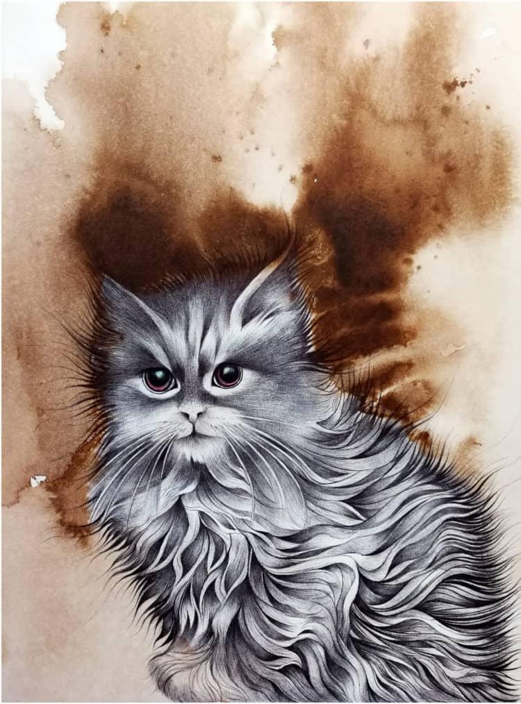 Persian Kitten 12″ x 9″ Mix Medium on Wasli hdr