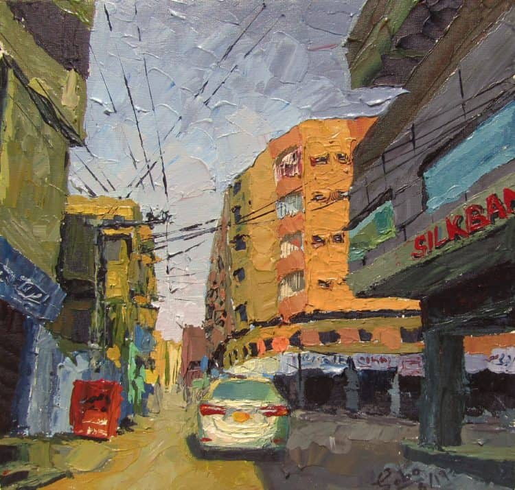 My first ever Acrylic on Canvas Title: Doctors Colony Hyderabad Size: 12″/12″ Doctors co