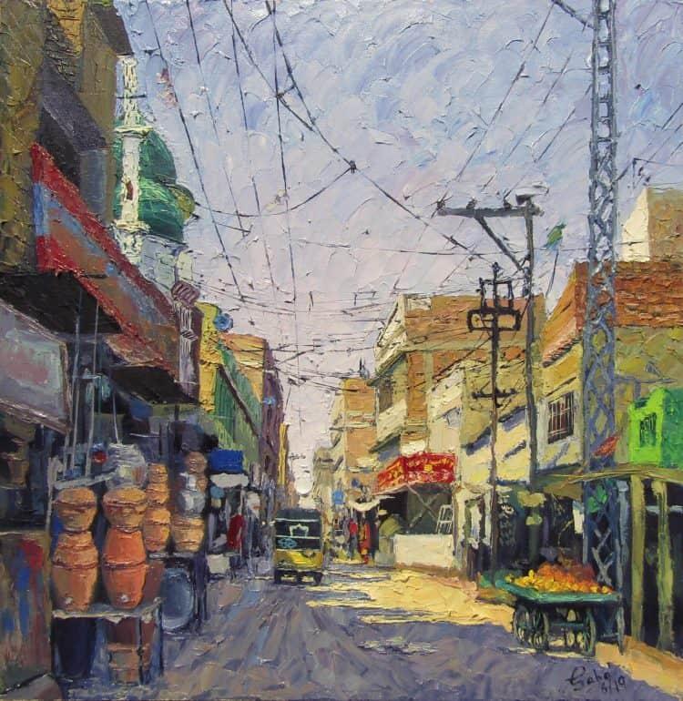 Hali Road Hyderabad 24″/24″ Oil on Canvas aaaaa