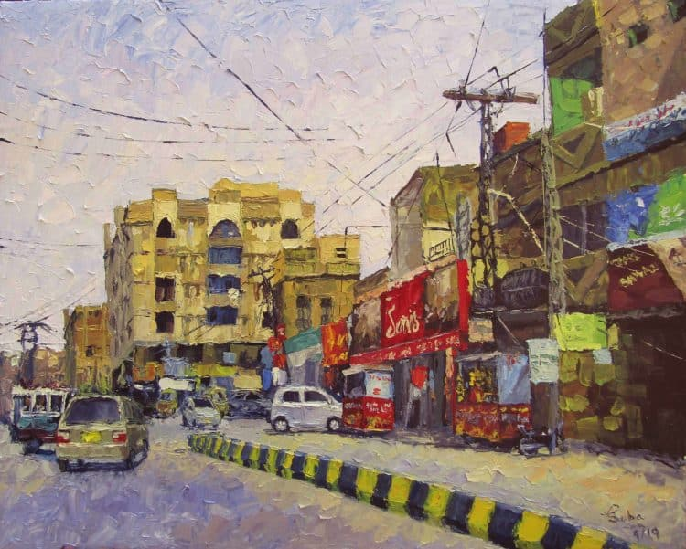 Hyder Chowk Oil on Canvas 30″/24″ Knife Painting with the kitchen knife Hyder Chowk3