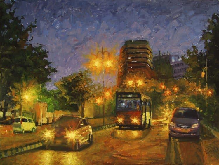 M.R. Kiyani Road My first ever night cityscape painting MR Kiyani Road