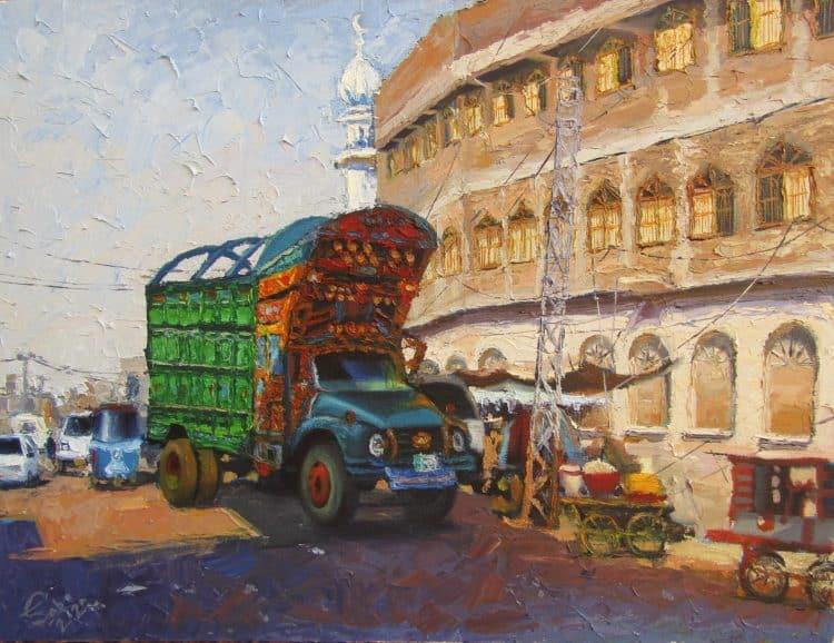 Truck at the Hala Naka Oil on Canvas Knife painting 24″/18″ Truck at Halanaka…