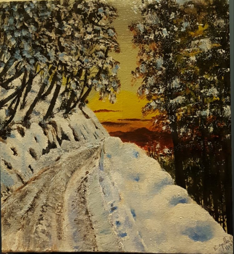 Title: SNOW FALL Acrylics on Canvas 12″×12″ 20200401_034000