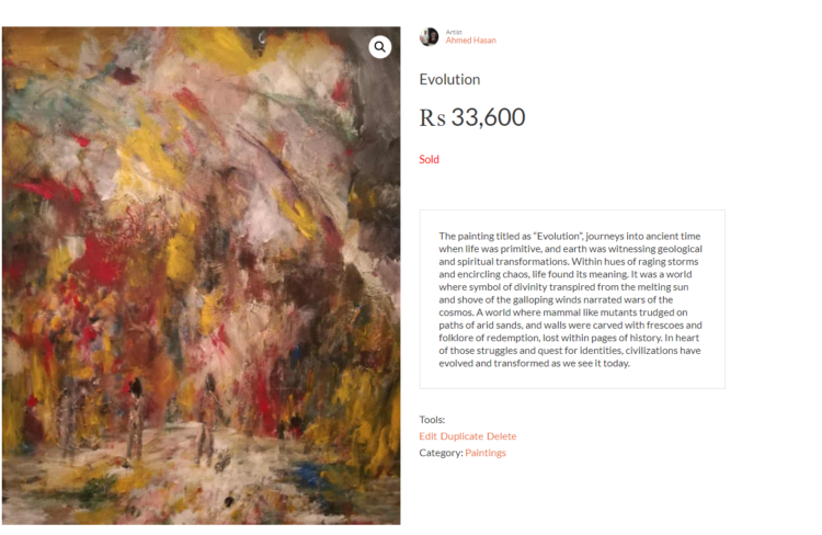 Evolution Oil on Canvas Sold work in 2019 Evolution sold screenshot