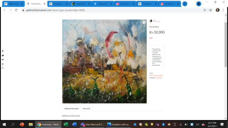 Ceremony Oil on Canvas Sold through Gallery 6 in 2020 ceremony screenshot sold